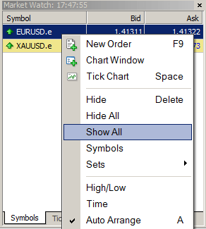 Customizing the Market Watch window for MT4 Demo Pro account