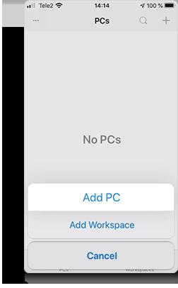 Add PC in the next menu